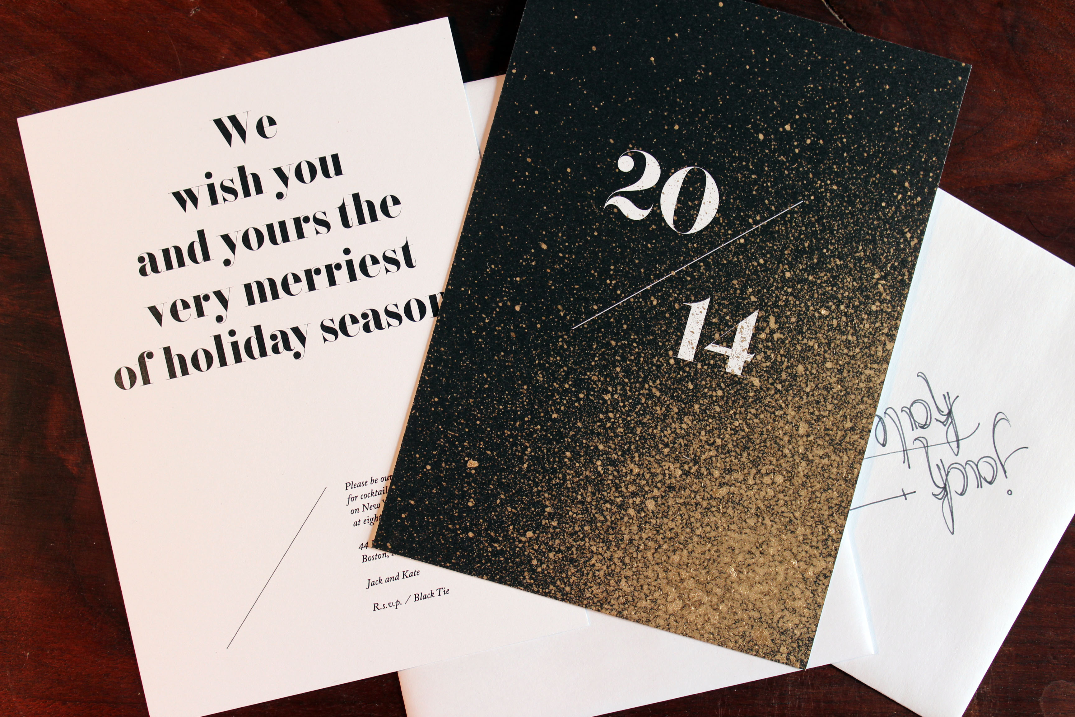 gold leaf holiday cards and new years invitations